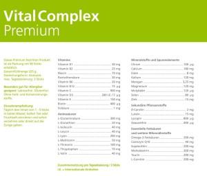 VitalComplex Premium – Spermaqualität verbessern Beipackzettel Inhaltsstoffe